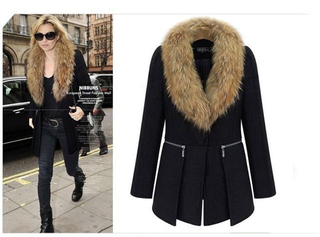 European and American Winter Coat Women Black Medium Long Oversize Plus Size Warm Wool Jacket Cashmere Overcoat With Fur Collar