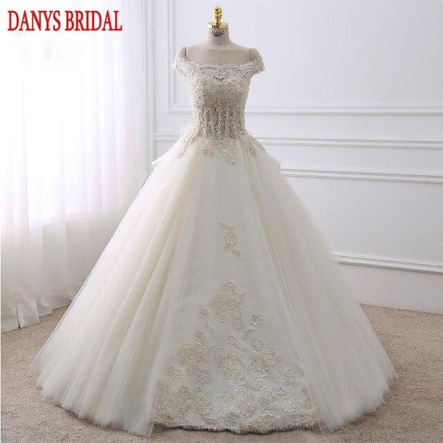 Vintage Spitze Brautkleider 2017 Eine Linie Perlen Tüll Brautkleider ...