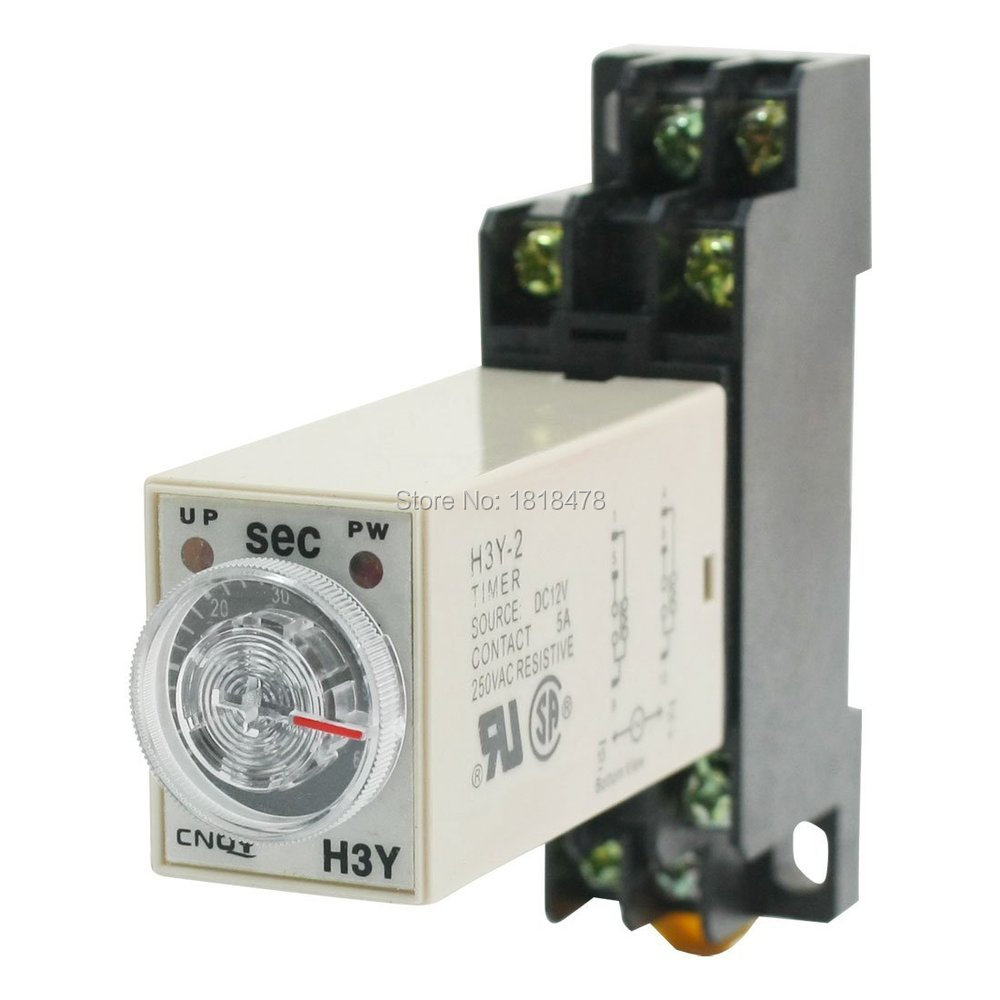 Time Delay Relay Solid State Timer 0-60S DPDT w Socket  H3Y-2 AC12V 0-60S max 10s 12vdc h3y 2 power on 3a time delay relay solid state dpdt socket base