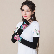 Autumn winter New Fashion Embroidery Opera Gloves Women Arm heaters Accessories Long semi-finger gloves YMF199