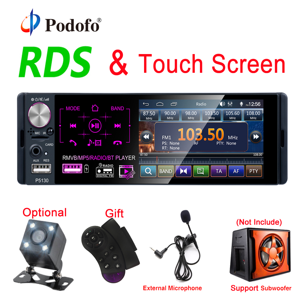 "Podofo RDS Car Radios 4.1"" Touch Screen Multimedia MP5 Player Auto Stereo Radio Bluetooth Support Micophone And Rear View Camera(China)"