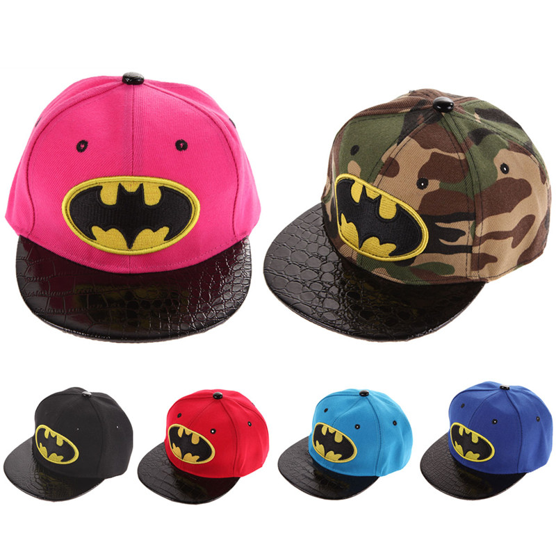 Spring, Autumn, Winter Kids Hip-Hop SnapBack Batman Baseball Cap Children Sports Cotton Hats Suit for Boy and Girl