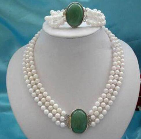 3Rows 7-8mm White Pearl+stone clasp necklace bracelet3Rows 7-8mm White Pearl+stone clasp necklace bracelet