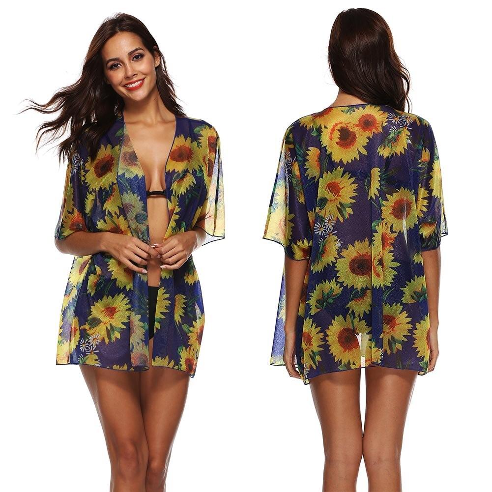 Sexy Summer Women Chiffon Cardigan Sunflower Printed Outwear Beach Wear H9
