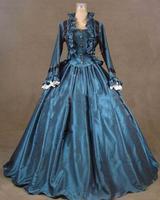2015 костюм Винтаж Gothic викторианской платье в винтажном стиле, с длинным рукавом синий пол Длина платье