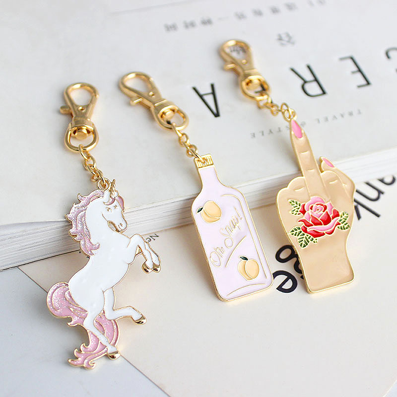 SANSUMMER New Style Fashionable Sexual Multicolour Animal Rose Fingers And Beverage Bottle Key Button Bag Hangers Girl 6354