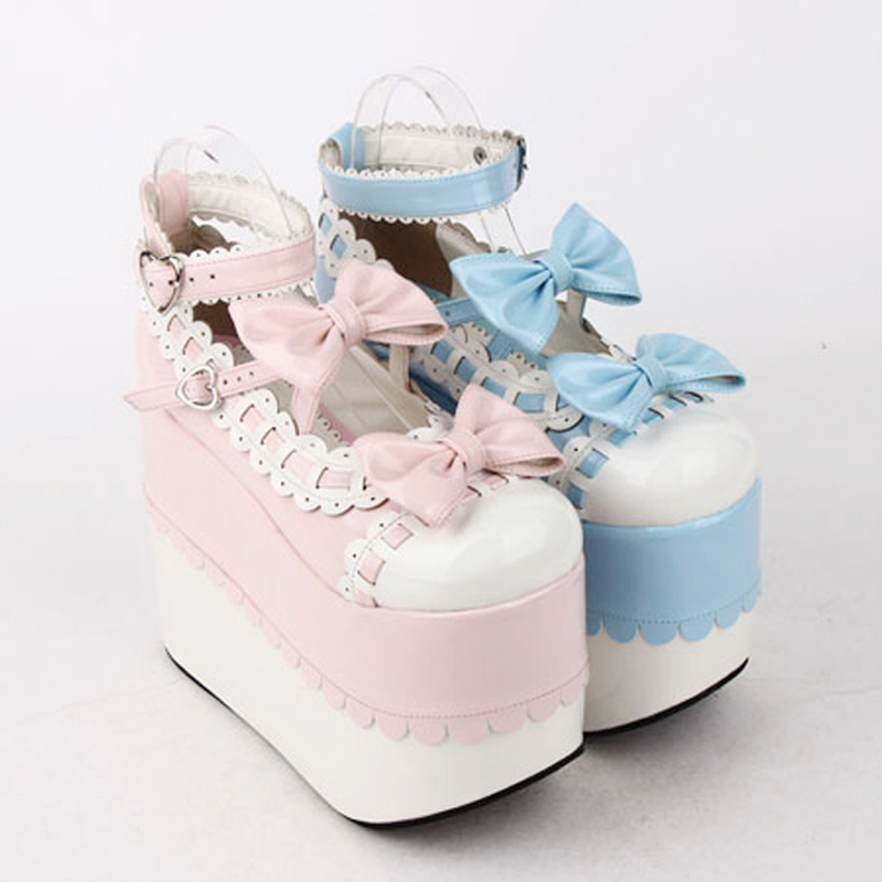 Plus Size female spring anime cosplay lolita shoes women Wedges Sandals high heels leather Princess platform