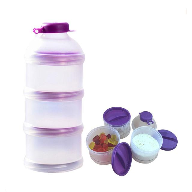 Portable Milk Powder Formula Dispenser Food Container Storage Feeding Box For Baby Kids Toddler Three Grid Baby Food Storage Box