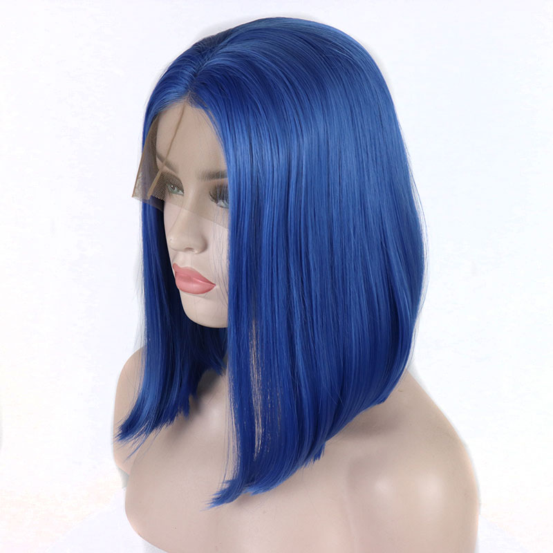 Bombshell Blue Short Bob Synthetic Hair Lace Front Wig Glueless Straight Heat Resistant Fiber Hair Middle