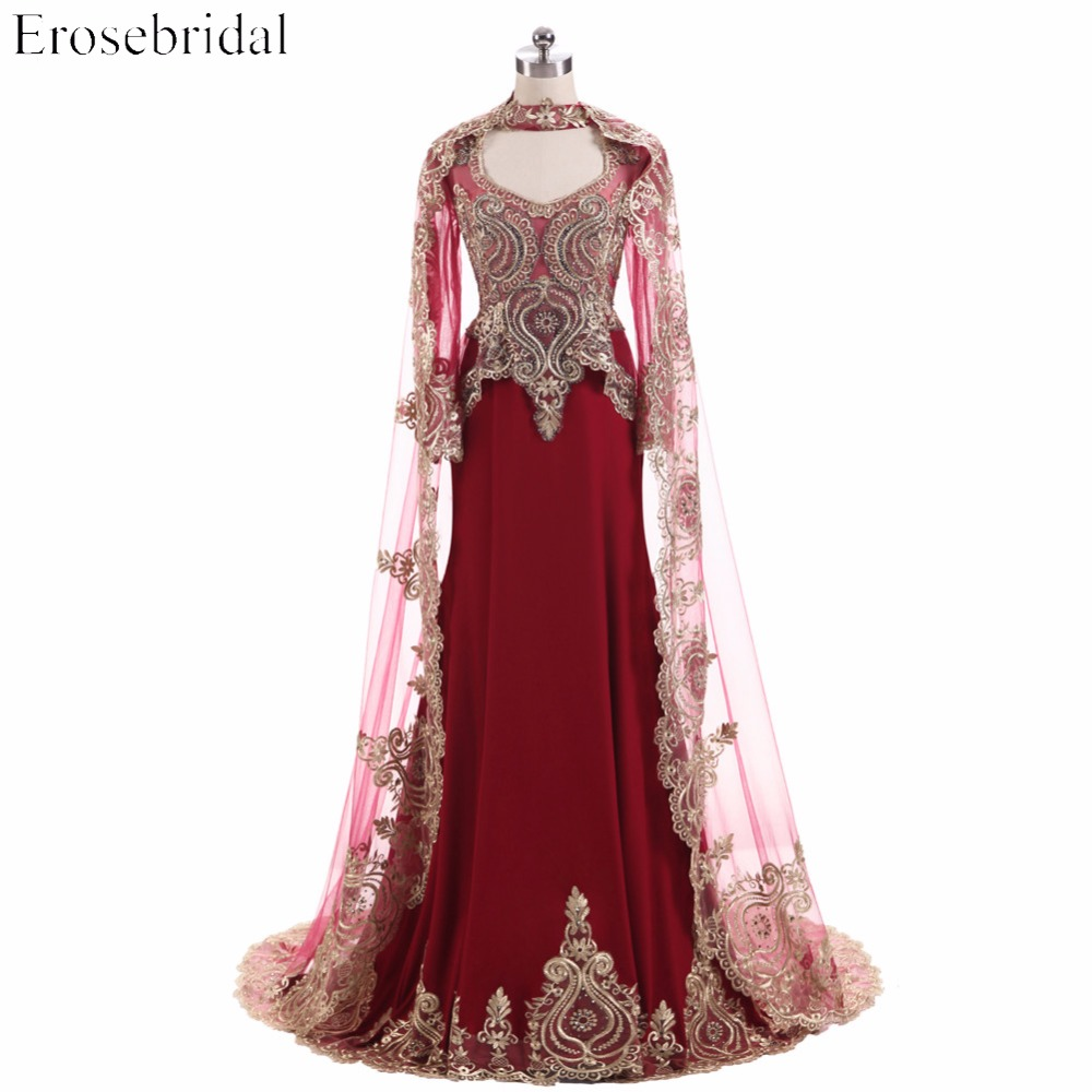 2019 Autumn New Evening Dress Long With Wrap Mermaid Robe De Soiree Wine Red Evening Gowns Gold Appliques Beading Real Image Be Friendly In Use