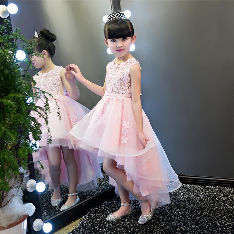 Luxury 2017 Solid Slim Kids Girls Dress Lace Pierced Embroidery Princess Dress Sweet Wedding Flower Girls Dress Prom Party P75 lace detail flower embroidery velvet cami dress