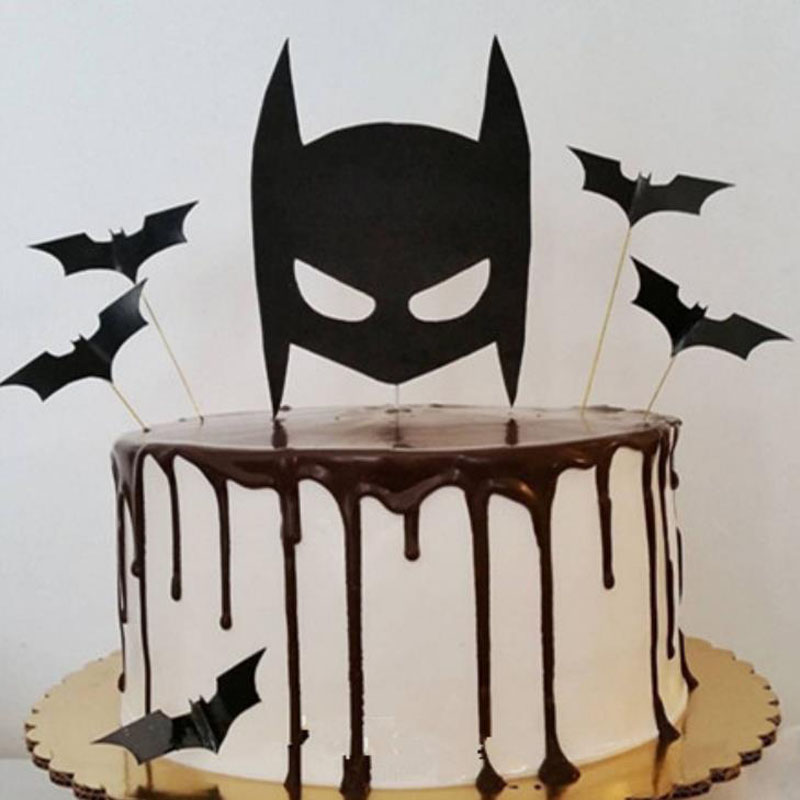 5 Pcs/set Cool Cartoon Black Bat Cupcake Toppers Kids Party Birthday Decorations Cake Topper For Kids Boy Party Birthday