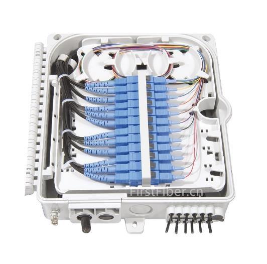 FirstFiber FTTH 12 Cores Fiber Termination Box 12 Port 12 Channel Splitter Box Indoor Outdoor Fiber Splitter Box ABS