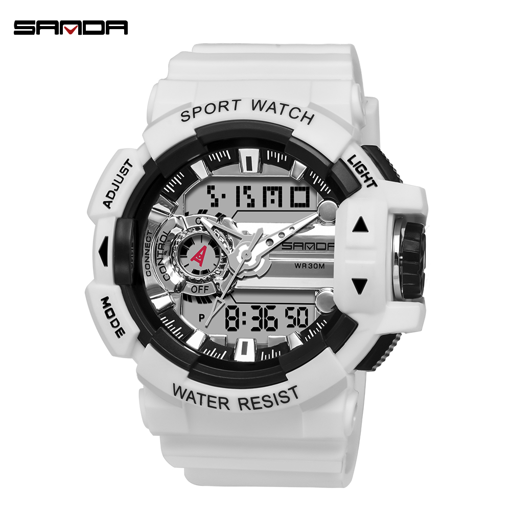 SANDA Digital Watch Shockproof Alarm-Clock Men's Fashion Reloj Sport Hombre