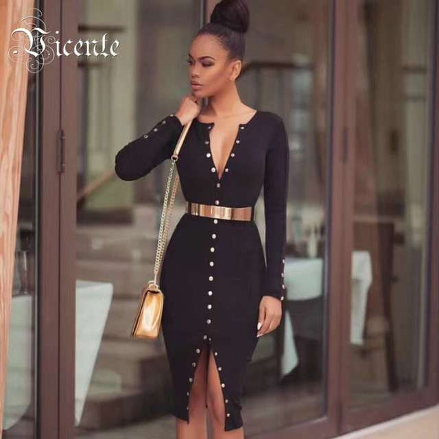 fbe75c10f5281 Vicente HOT 2019 New Fashion Gold Button Embellished Long Sleeves Midi  Wholesale Women Celebrity Party Bandage Dress