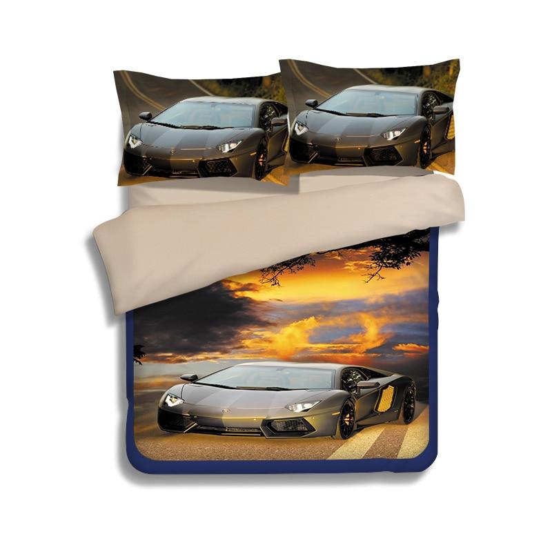 Duvet Cover Flitted Bed Sheet 3D Cool Car Pattern Bedding Set Quilt Cover Pillowcase Bed Linen Bedspread For Kids Children Men