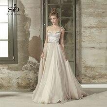 Beach Wedding Dress Spaghetti Straps Bridal 2018 Velet with Flowers Custom made Romantic Newest Coming