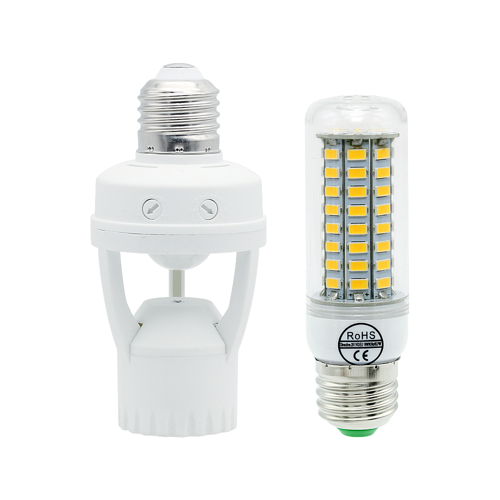 Infrared PIR Motion Sensor Light Bulb E27 Socket Holder Light Control Lamp Switch 5W 9W 12W 220V Lighting