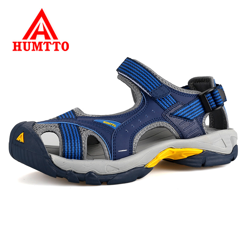Humtto Summer Outdoor Men And Women Hiking Sandals Breathable Mens Genuine Leather Beach Sandals Couples Climbing Mountain Shoes