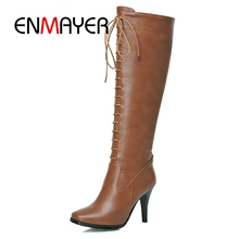 ENMAYER  Leather Women Fashion Over The Knee Boots Sexy Pointed Toe Ladies Lace Up  Boots 2018 Hot High Heel Boots ZYL116 concise style leather straps women knee high gladiator boots t straps toe ladies high heel sandal boots summer hot cage boots