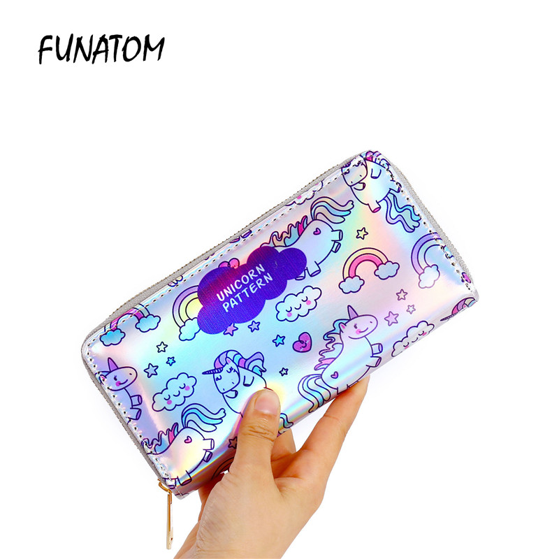 Laser cute unicorn print wallet long zipper purse fashion new girl wallet with card holders cute pattern designed women wallet 2087 women new fashion long hasp wallet cute purse for juniors flower pattern design magnetic snap closure credit store