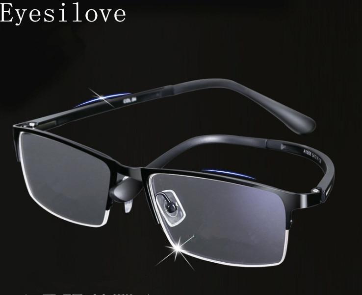 06d9bb99 Eyesilove marcos ópticos de metal de medio borde montura de gafas de  negocios para hombre montura ...