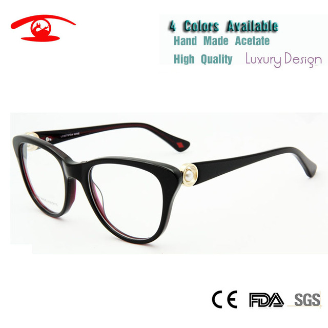 Luxury Women Eyeglass Frame Optical High Quality Spectacles Fashion Glasses Pearl Decorative Prescription Eyewear Frames Rx