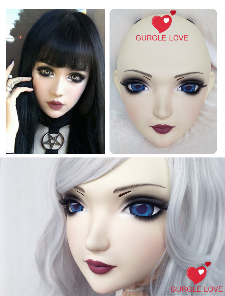 Female Sweet Girl Resin Half Head Kigurumi Mask With Bjd Eyes Cosplay Japanese Anime Role Lolita Mask Crossdress Doll Sunny dm134