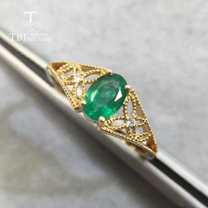 TBJ, 18 k or jaune bague en pierres précieuses naturel bonne couleur émeraude ovale 4.2*6mm bijoux fins pour dame anniversaire et vêtement quotidien meilleur cadeau