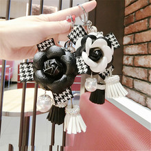 CX-Shirling Camellia Flower Coat Handbag Fashioon Lady Pendant Tassel Keychain Luxurious cc Car Accessories