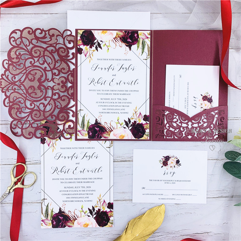 The Modern Touch-Burgundy Laser Cut Pocket Fold With Floral And Geometric Invitation
