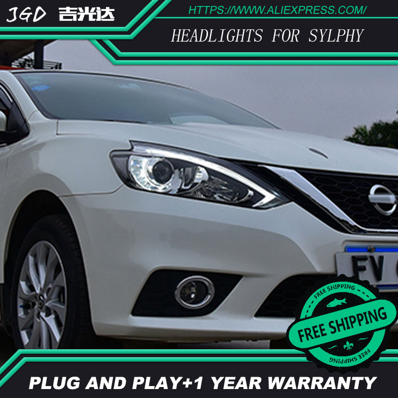Auto Clud Car Styling For Nissan Sylphy headlights 2016 head lamp led DRL front Bi-Xenon Lens HID