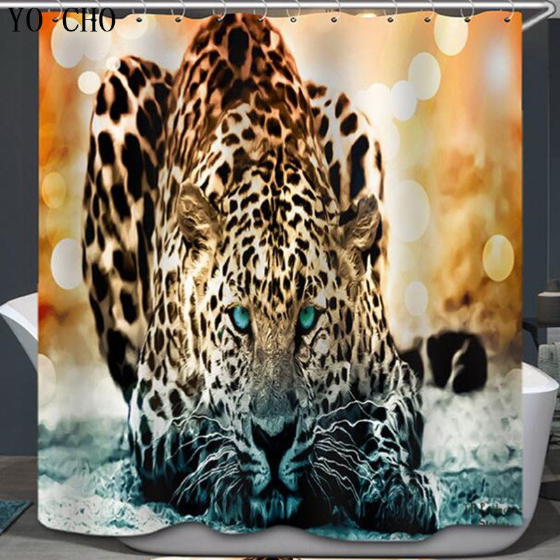 Leopard Shower Curtain 3d Modern Fabric Creative Zebra
