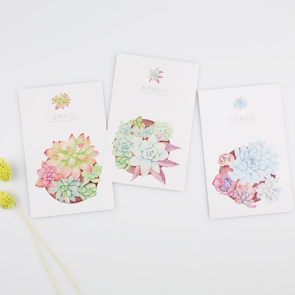 30pcs Postcards Cute Green Plants Postcards Diy Succulents Museum