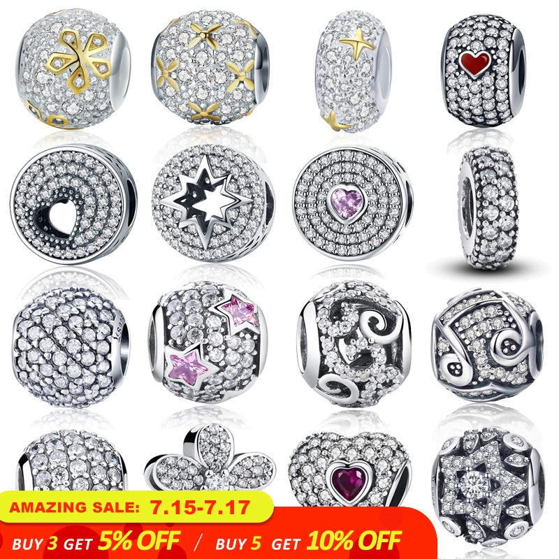 WOSTU 100% Authentic 925 Sterling Silver Dazzling Clear CZ Charm Beads Fit DIY Charm Bracelet Pendants Original Jewelry Gift
