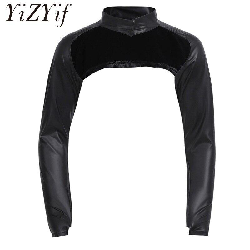 2018 Black Men Faux Leather Long Sleeve Stage Show Half-Jacket Hollow Arm Sleeves Shrug Bolero Motorcycle Punk Costume Clubwear