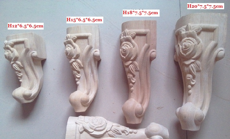 4Pcs/Lot Premintehdw 12*6.5*6.5cm High Quality Rubber Wood Carved Furniture Leg Legs Feet