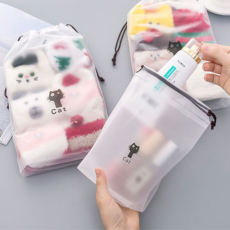 Transparent Animal Cat Drawstring Cosmetic Bag Travel Makeup Case Make Up Handbag Organizer Storage Pouch Toiletry Wash Kit