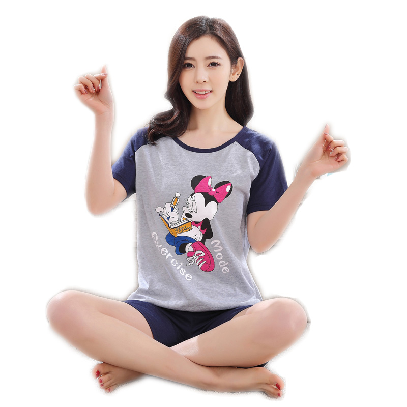 Hot Selling Cotton Short Sleeved   Pajama     Sets   Women   Pajamas   Girls Cartoon Sleepwear Loungewear Pyjama femme Plus Size Clothing