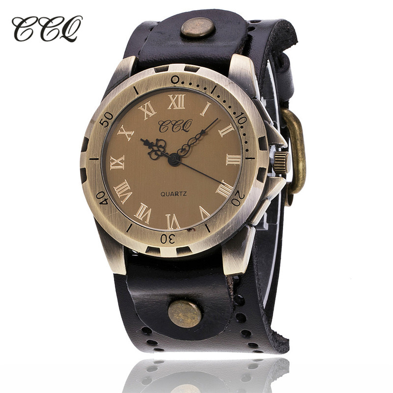 CCQ Brand Vintage Reloj Hombre Cow Leather Men WristWatch Casual Luxury Roman Number Analog Quartz Watch Relogio Masculino C20 gorben brand classical silver polishing quartz men pocket watch round roman number necklace relogio de bolso gift men watch