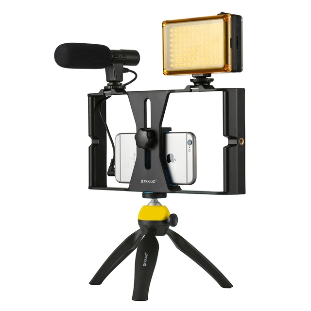PULUZ Handheld Phone Vlogging Setup Video Stabilizer with LED light,Microphone for iPhone 8 7plus for Youtube Video Filmmaking