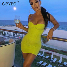 Sibybo Strapless Pleated Mini Summer Dress Women Spaghetti Strap Sleeveless Sexy Bodycon Dress Backless Club Party Dress Short