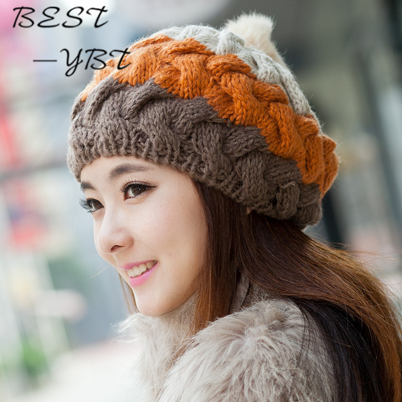Rabbit Fur Ball Handmade Crocheted Wool Cap Spell Color Multicolor Cute Hat In Autumn and Winter Warm Hat gift children knitting wool hat cute keep warm rabbit beanie cap autumn and winter hat with earflaps whcn
