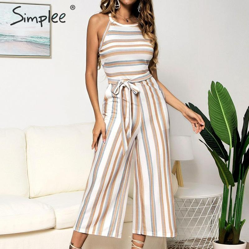 Simplee Casual striped long women's   jumpsuit   Summer halter sleeveless overalls Elegant sashes rompers plus size   jumpsuit   female