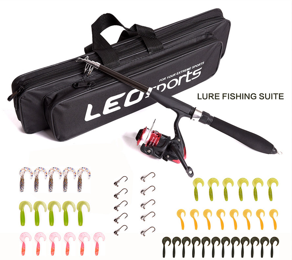 LEO 1.6M Telescopic <font><b>Fishing</b></font> Rod Reel Set Full Kit Spinning Reel Pole Set with Hook Lure Bag Tackle Accessory