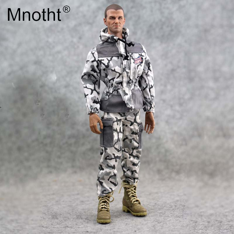 Mnotht 1/6 Scale Trend Snow Camouflage Jacket Trousers Pants For 12in Male Soldier Body Model Clothes Toys Action Figure mo