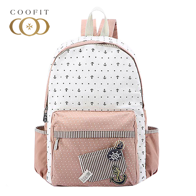 Coofit Cute Floral Stars Printing Canvas Backpack For Women Causal School  Bagpack For Girls Teens Youth Travel Laptop Daypack f0ce92c33c25a