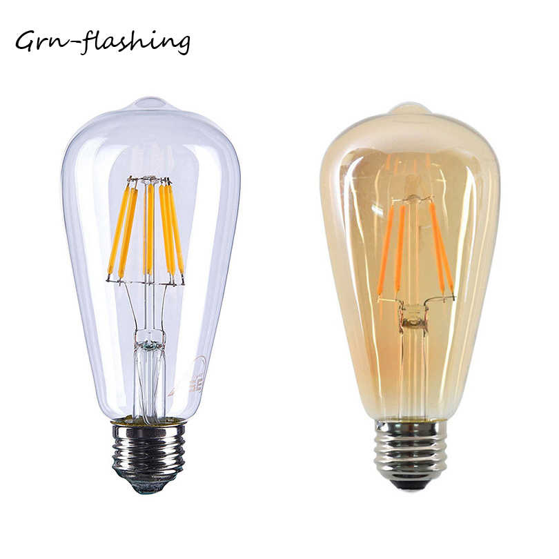 ST64 4W 6W 8W Edison LED Filament Bulb lamp 220V E27 Vintage Antique Retro Edison Bombillas Ampoule Replace Incandescent Light