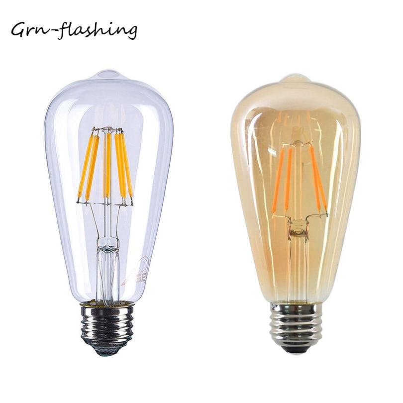 ST64 4W 6W 8W Edison LED Filament Bulb Lamp 220V E27 Vintage Antique Retro Edison Bombillas Ampoule Replace Incandescent Light