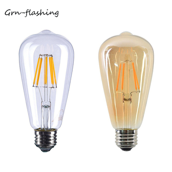 ST64 4W 6W 8W Edison lámpara de bombilla de filamento LED 220V...